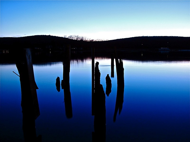 Blue night in the lake